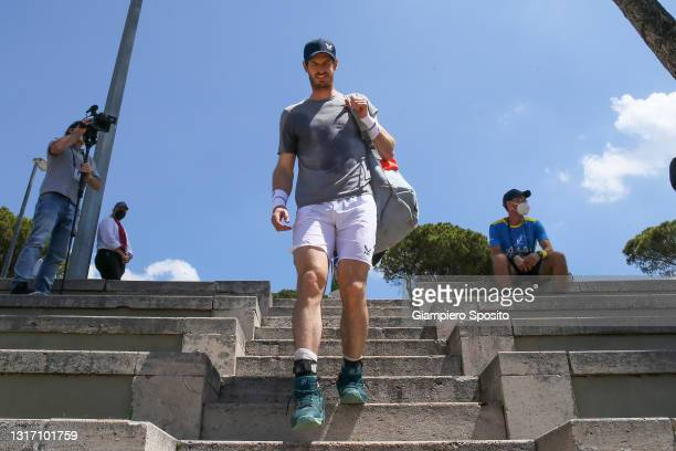Andy Murray of Great Britain arrives to attend a training session during the Internazionali BNL d'Italia 2021 at Foro Italico on May 09, 2021 in...