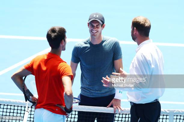 Andy Murray of Great Britain at the coin toss in his practice match against Novak Djokovic of Serbia ahead of the 2019 Australian Open at Melbourne...