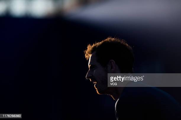 Andy Murray of Great Britain attends a training session before 2019 ATP World Tour 250 Zhuhai Championships at Hengqin Tennis Center on September 21...