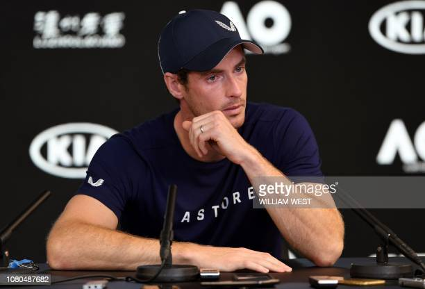 Andy Murray of Great Britain breaks down during a press conference in Melbourne on January 11 ahead of the Australian Open tennis tournament. -...
