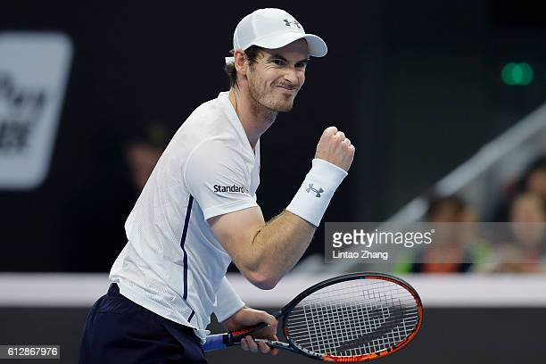 Andy Murray of Great Britain icelebrates a point against Andrey Kuznetsov of Russia during the Men's singles second round match on day five of the...