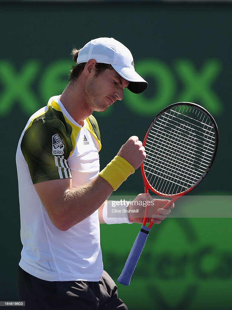 Andy Murray of Great Britain celebrates a point against Marin Cilic of Croatia during their quarter final match at the Sony Open at Crandon Park Tennis Center on March 28, 2013 in Key Biscayne, Florida.