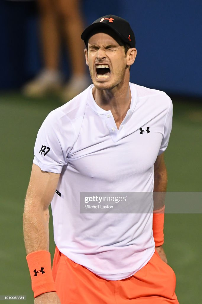 Andy Murray of Great Britain celebrates a point against Marius Copil of Romania during Day Six of the Citi Open at the Rock Creek Tennis Center on August 2, 2018 in Washington, DC.