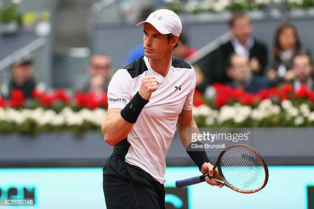 Andy Murray of Great Britain celebrates a point against Rafael Nadal of Spain in their semi final match during day eight of the Mutua Madrid Open...