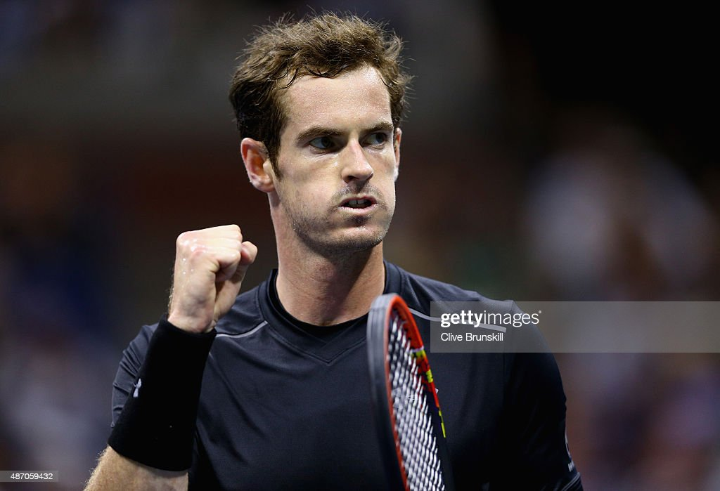 Andy Murray of Great Britain celebrates a point against Thomaz Bellucci of Brazil during their mens singles third round match on Day Six of the 2015 US Open at the USTA Billie Jean King National Tennis Center on September 5, 2015 in the Flushing neighborhood of the Queens borough of New York City.