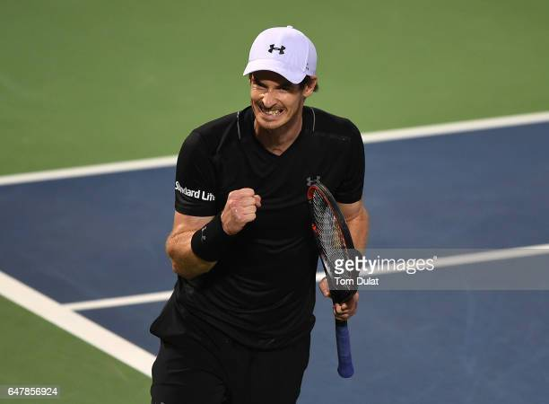 Andy Murray of Great Britain celebrates a point during his final match against Fernando Verdasco of Spain on day seven of the ATP Dubai Duty Free...