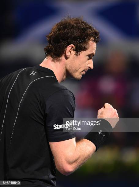 Andy Murray of Great Britain celebrates a point during his match against Malek Jaziri of Tunisia on day three of the ATP Dubai Duty Free Tennis...