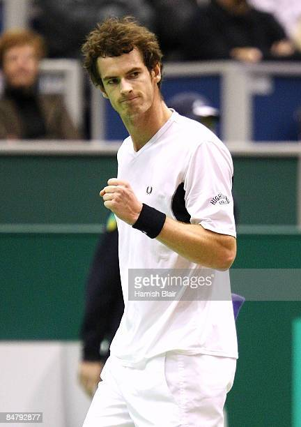 Andy Murray of Great Britain celebrates a point during his semi final match against Mario Ancic of Croatia during day six of the ABN AMRO World...