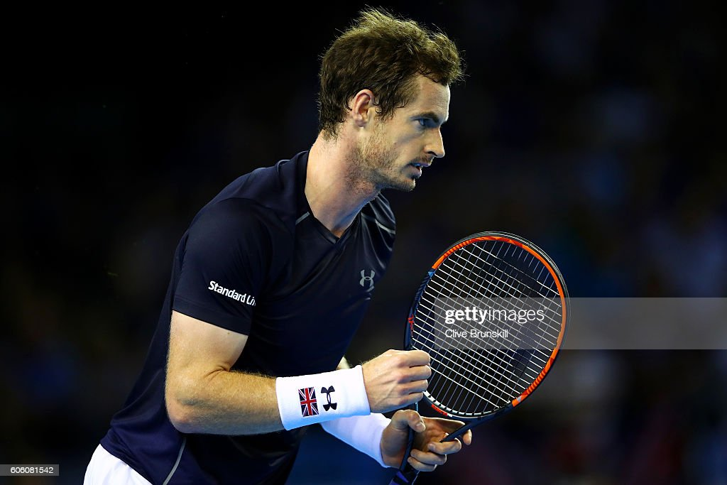 Andy Murray of Great Britain celebrates a point during his singles match against Juan Martin del Potro of Argentina during day one of the Davis Cup Semi Final between Great Britain and Argentina at Emirates Arena on September 16, 2016 in Glasgow, Scotland.