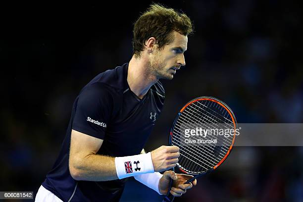 Andy Murray of Great Britain celebrates a point during his singles match against Juan Martin del Potro of Argentina during day one of the Davis Cup...
