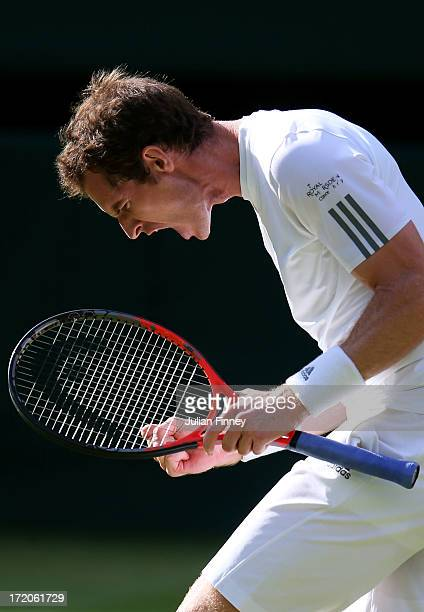 Andy Murray of Great Britain celebrates a point during the Gentlemen's Singles fourth round match against Mikhail Youzhny of Russia on day seven of...