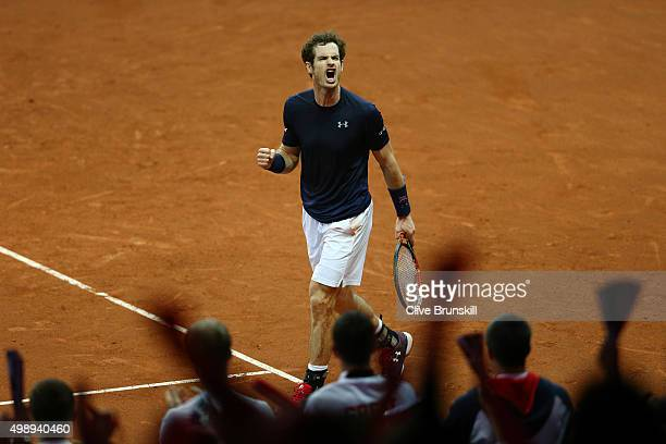 Andy Murray of Great Britain celebrates a point during the singles match against Ruben Bemelmens of Belgium on day one of the Davis Cup Final 2015 at...