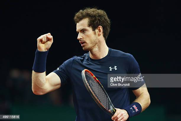 Andy Murray of Great Britain celebrates a point during the singles match against David Goffin of Belgium on day three of the Davis Cup Final 2015 at...