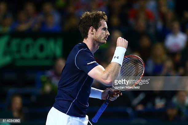 Andy Murray of Great Britain celebrates a point during the singles match against Kei Nishikori of Japan on day three of the Davis Cup World Group...