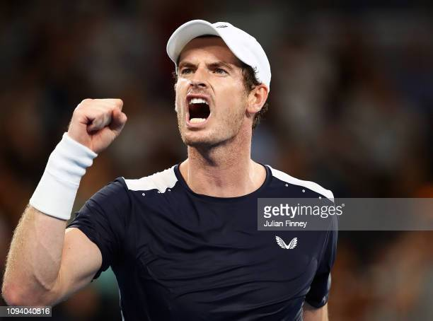 Andy Murray of Great Britain celebrates a point in his first round match against Roberto Bautista Agut of Spain during day one of the 2019 Australian...