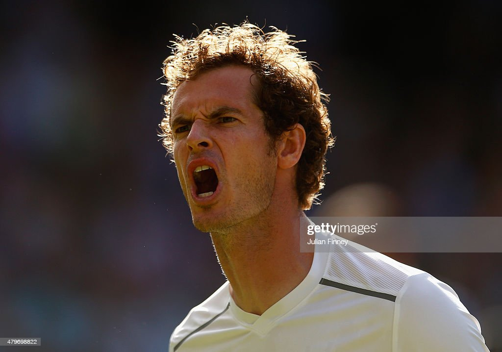 Andy Murray of Great Britain celebrates a point in his Gentlemen's Singles Fourth Round match against Ivo Karlovic of Croatia during day seven of the Wimbledon Lawn Tennis Championships at the All England Lawn Tennis and Croquet Club on July 6, 2015 in London, England.