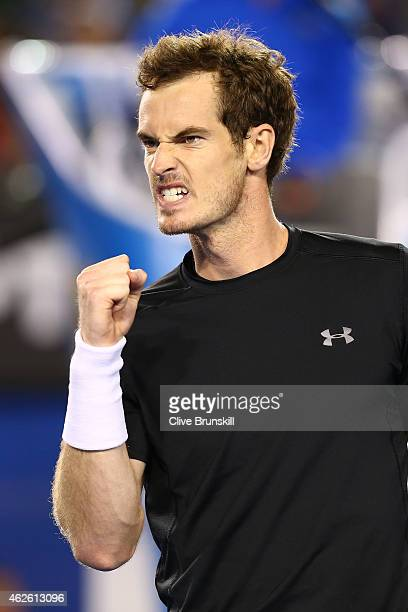 Andy Murray of Great Britain celebrates a point in his men's final match against Novak Djokovic of Serbia during day 14 of the 2015 Australian Open...
