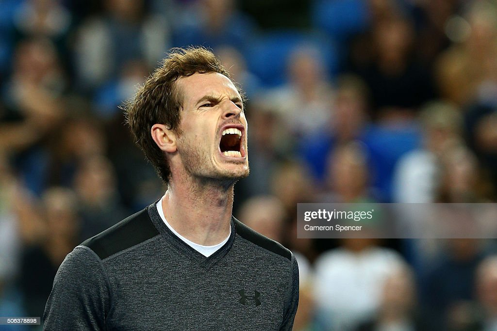 Andy Murray of Great Britain celebrates a point in his third round match against Joao Sousa of Portugal during day six of the 2016 Australian Open at Melbourne Park on January 23, 2016 in Melbourne, Australia.