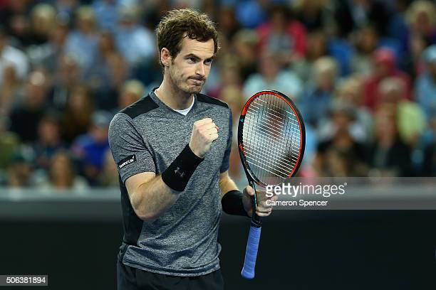 Andy Murray of Great Britain celebrates a point in his third round match against Joao Sousa of Portugal during day six of the 2016 Australian Open at...