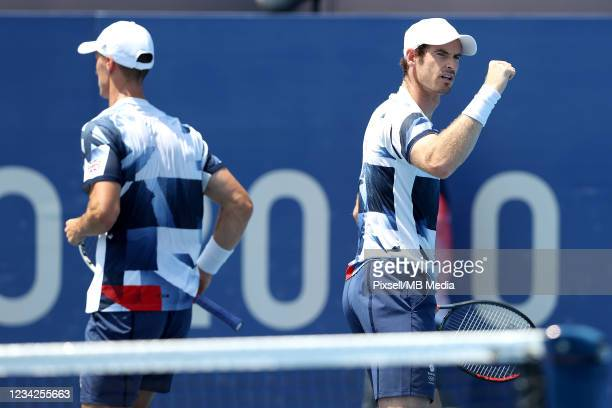 Andy Murray of Great Britain celebrates after a point during his Men's Doubles quaterfinal match with Joe Salisbur of Great Britain against Marin...