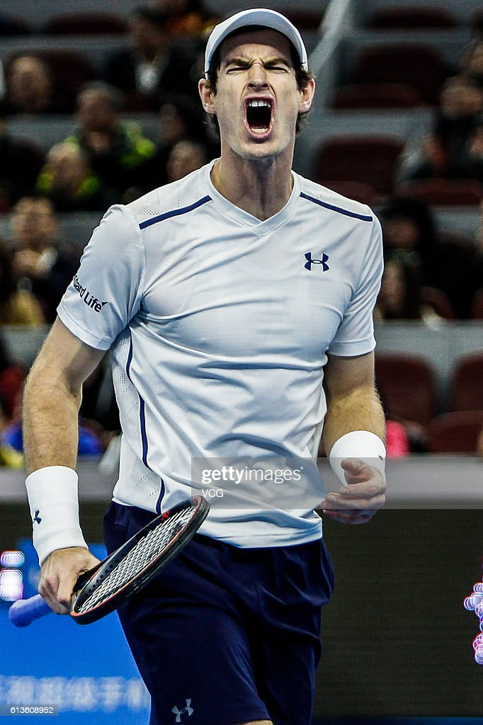 Andy Murray of Great Britain celebrates after defeating Grigor Dimitrov of Bulgaria during the Men's singles final match on day nine of the 2016 China Open at the China National Tennis Centre on October 9, 2016 in Beijing, China.