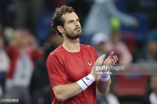 Andy Murray of Great Britain celebrates after defeating Juan Ignacio Londero of Argentina on Day three of 2019 Rolex Shanghai Masters at Qi Zhong...