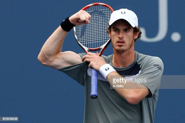 Andy Murray of Great Britain celebrates after defeating Jurgen Melzer of Austria during Day 6 of the 2008 U.S. Open at the USTA Billie Jean King...