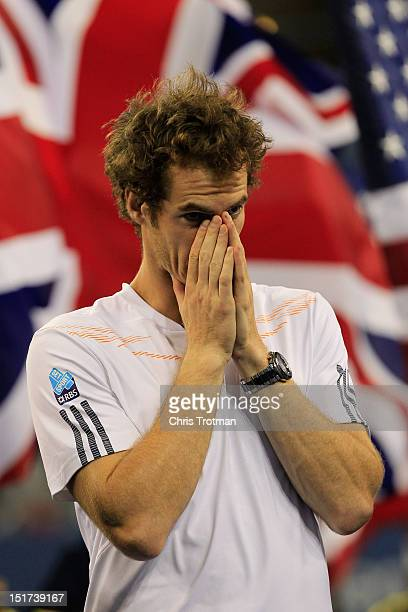 Andy Murray of Great Britain celebrates after defeating Novak Djokovic of Serbia in the men's singles final match on Day Fifteen of the 2012 US Open...