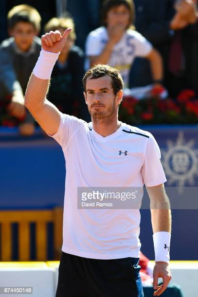 Andy Murray of Great Britain celebrates after his victory against Albert RamosVinolas of Spain in the quarterfinal on day five of the Barcelona Open...