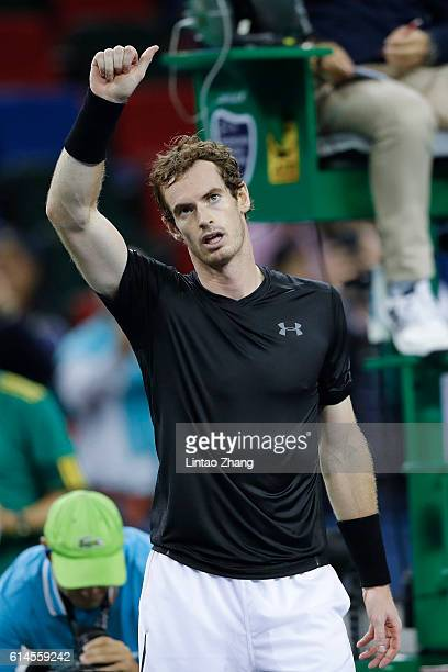 Andy Murray of Great Britain celebrates after win over David Goffin of Belgium during day six of Shanghai Rolex Masters at Qi Zhong Tennis Centre on...
