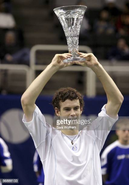 Andy Murray of Great Britain celebrates after winning his match against Lleyton Hewitt of Australia in the SAP Open at the HP Pavilion on February 19...