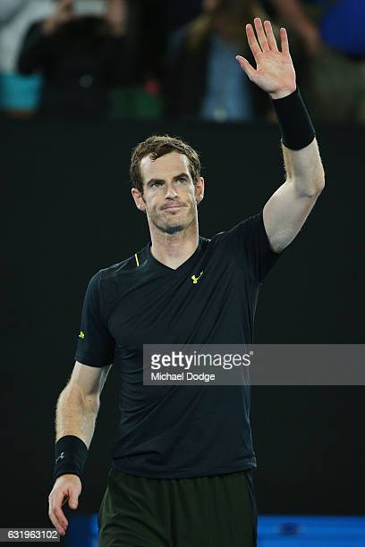 Andy Murray of Great Britain celebrates after winning in his second round match against Andrey Rublev of Russia on day three of the 2017 Australian...