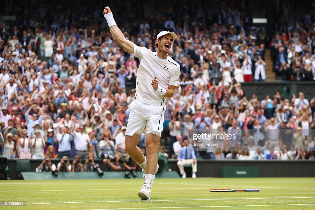 Andy Murray of Great Britain celebrates at championship point during the Men's Singles Final against Milos Raonic of Canada on day thirteen of the Wimbledon Lawn Tennis Championships at the All England Lawn Tennis and Croquet Club on July 10, 2016 in London, England.