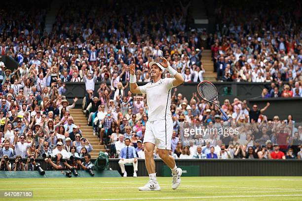 Andy Murray of Great Britain celebrates at championship point during the Men's Singles Final against Milos Raonic of Canada on day thirteen of the...