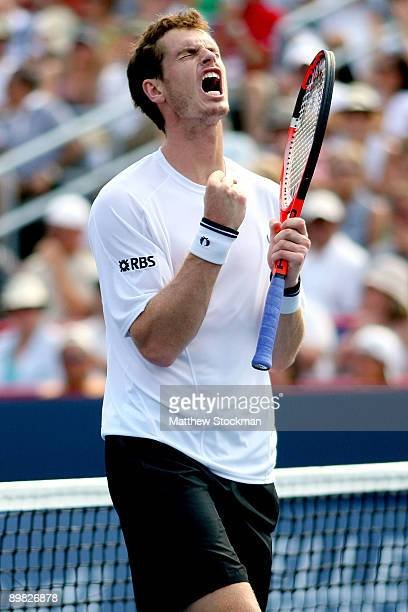 Andy Murray of Great Britain celebrates breaking Juan Martin Del Potro of Argentina in the second set during the men's final of the Rogers Cup at...