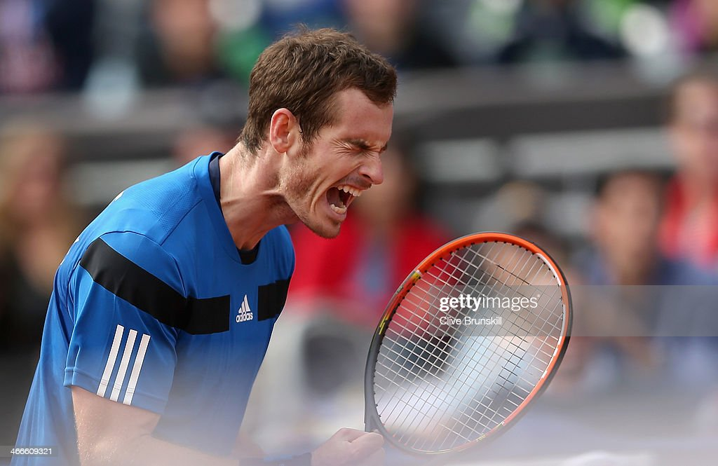 Andy Murray of Great Britain celebrates breaking serve in the fourth set against Sam Querrey of the United States during day three of the Davis Cup World Group first round between the U.S. and Great Britain at PETCO Park on February 2, 2014 in San Diego, California.