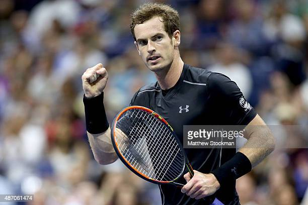 Andy Murray of Great Britain celebrates breaking Thomaz Bellucci of Brazil during their Men's Singles Third Round match on Day Six of the 2015 US...