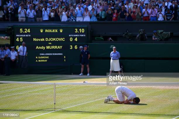 Andy Murray of Great Britain celebrates Championship point during the Gentlemen's Singles Final match against Novak Djokovic of Serbia on day...