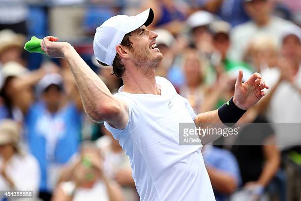 Andy Murray of Great Britain celebrates defeating Andrey Kuznetsov of Russia in their men's singles third round match on Day Six of the 2014 US Open...
