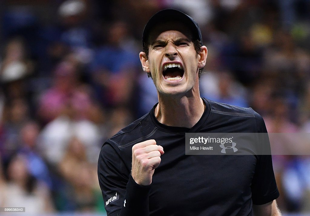 Andy Murray of Great Britain celebrates defeating Grigor Dimitrov of Bulgaria during his fourth round Men's Singles match on Day Eight of the 2016 US Open at the USTA Billie Jean King National Tennis Center on September 5, 2016 in the Flushing neighborhood of the Queens borough of New York City.