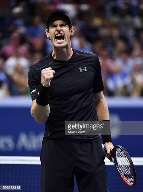 Andy Murray of Great Britain celebrates defeating Grigor Dimitrov of Bulgaria during his fourth round Men's Singles match on Day Eight of the 2016 US...