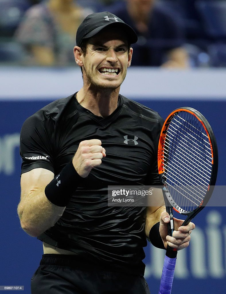Andy Murray of Great Britain celebrates defeating Lukas Rosol of the Czech Republic during his first round Men's Singles match on Day Two of the 2016 US Open at the USTA Billie Jean King National Tennis Center on August 30, 2016 in the Flushing neighborhood of the Queens borough of New York City.
