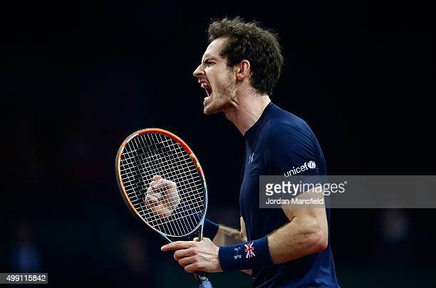 Andy Murray of Great Britain celebrates during day three of the Davis Cup Final match between Belgium and Great Britain at Flanders Expo on November...