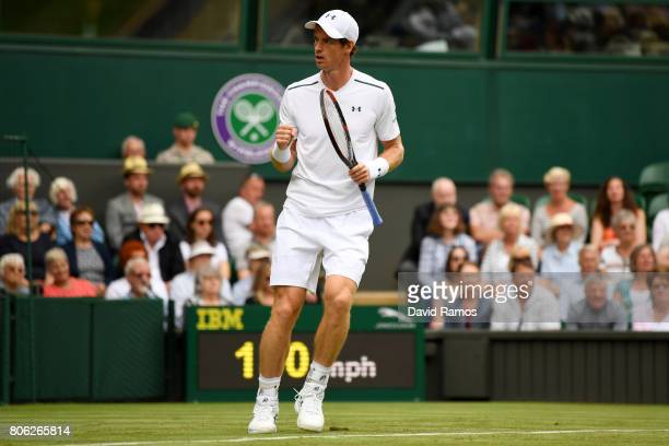 Andy Murray of Great Britain celebrates during the Gentlemen's Singles first round match against Alexander Bublik of Kazakhstan on day one of the...