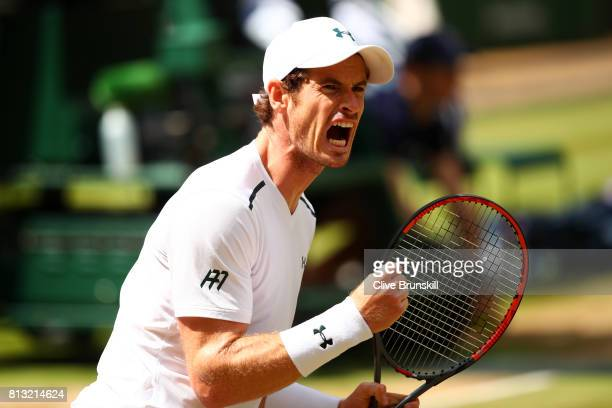 Andy Murray of Great Britain celebrates during the Gentlemen's Singles quarter final match against Sam Querrey of The United States on day nine of...