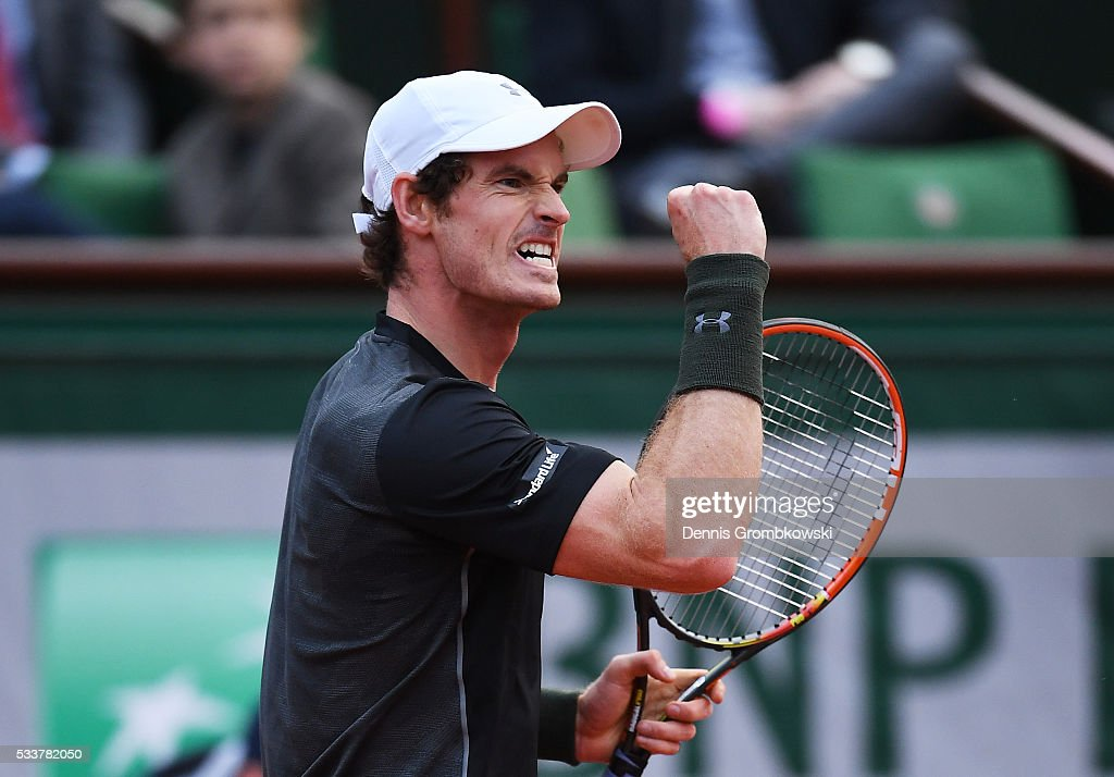 Andy Murray of Great Britain celebrates during the Men's Singles first round match against Radek Stepanek of the Czech Republic on day two of the 2016 French Open at Roland Garros on May 23, 2016 in Paris, France.
