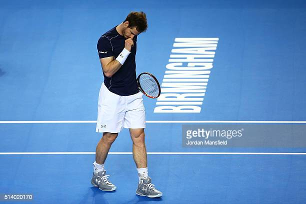 Andy Murray of Great Britain celebrates during the singles match against Kei Nishikori of Japan on day three of the Davis Cup World Group first round...