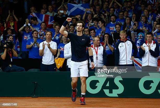 Andy Murray of Great Britain celebrates his victory during the singles match against Ruben Bemelmens of Belgium on day one of the Davis Cup Final...