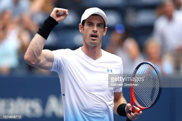 Andy Murray of Great Britain celebrates his victory in his men's singles first round match against James Duckworth of Australia on Day One of the...
