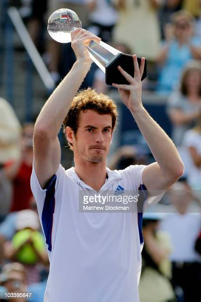 Andy Murray of Great Britain celebrates his win over Roger Federer of Switzerland during the final of the Rogers Cup at the Rexall Centre on August...
